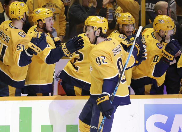 Nashville Predators center Ryan Johansen (92) is congratulated after scoring a goal against the Winnipeg Jets during the first period in Game 2 of an NHL hockey second-round playoff series Sunday, April 29, 2018, in Nashville, Tenn. (AP Photo/Mark Humphrey)