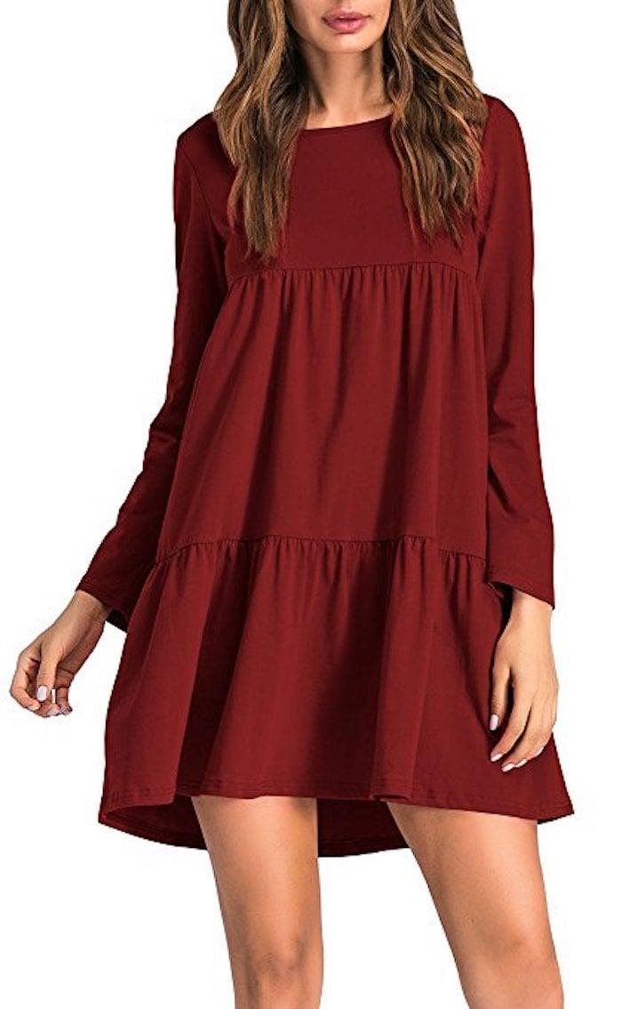<p>The burgundy shade of this <span>ZJCT Swing Dress</span> ($19) is beautiful.</p>