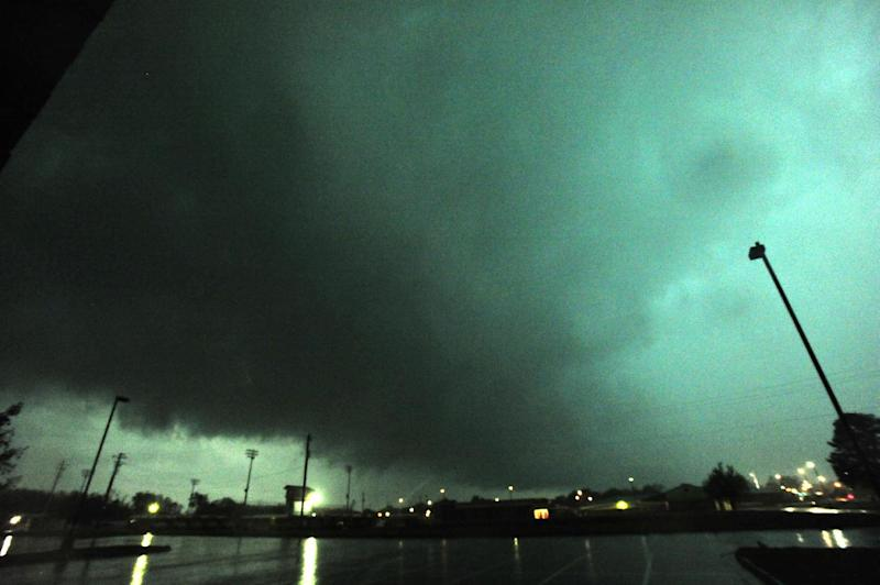 A rain-wrapped tornado passes through Hazel Green, Ala. as multiple tornadoes raked across northern Madison County late afternoon Monday, April 28, 2014. (AP Photo/AL.com, Eric Schultz)