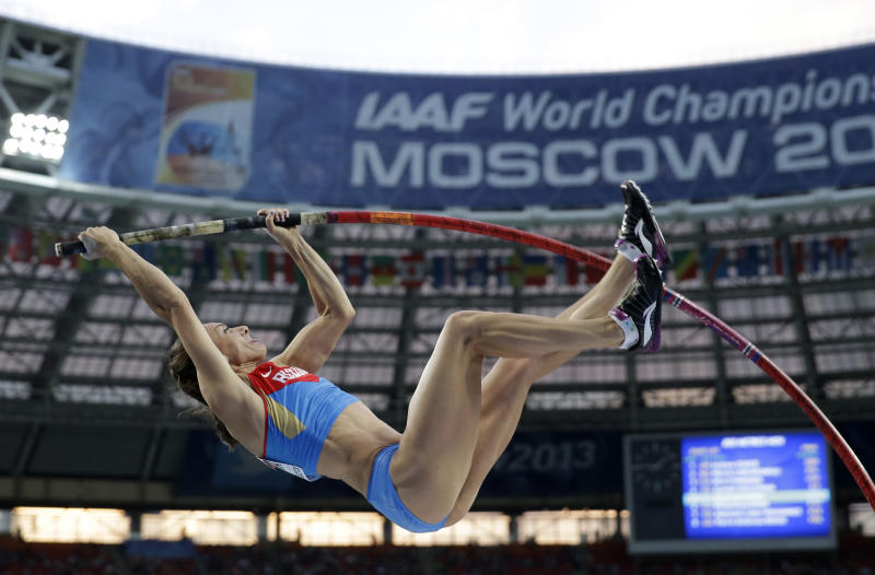 Russia's Yelena Isinbayeva competes in the women's pole vault final at the World Athletics Championships in the Luzhniki stadium in Moscow, Russia, Tuesday, Aug. 13, 2013. (AP Photo/David J. Phillip)