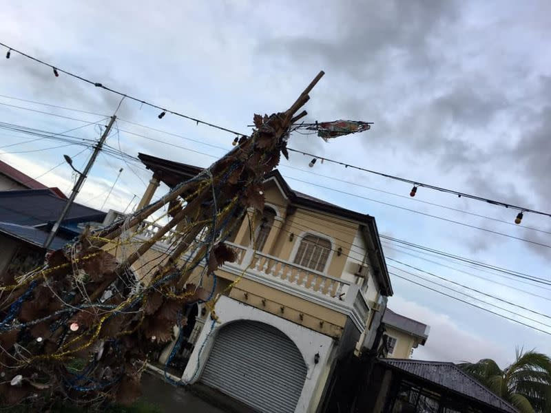 Destroyed Christmas decorations are seen after Typhoon Phanfone swept through Tanauan, Leyte, in the Philippines