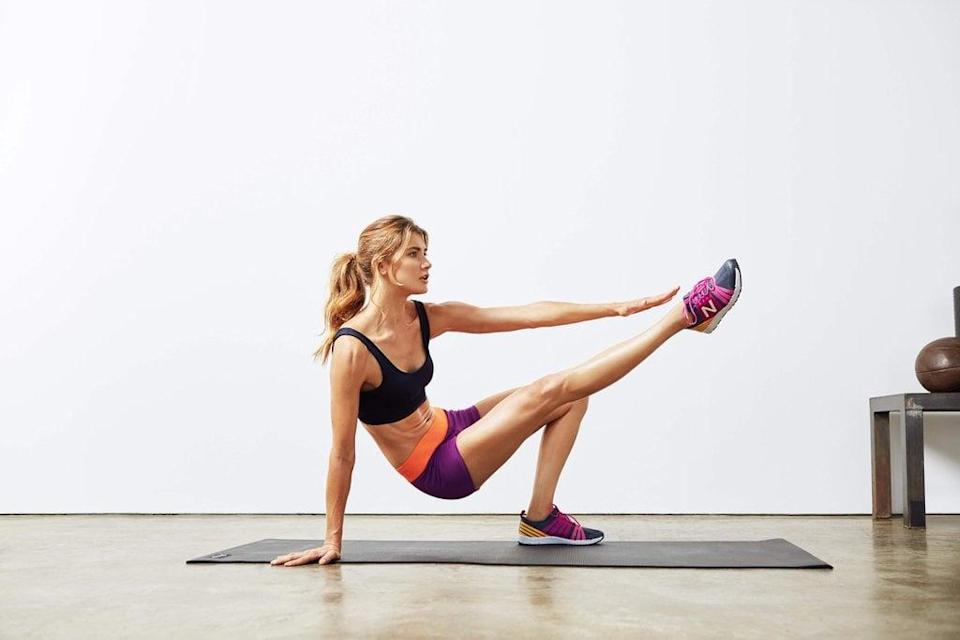 """<p><strong>Equipment needed:</strong> none</p> <p>This four-move, <a href=""""https://www.popsugar.com/fitness/Full-Body-HIIT-Workout-44294061"""" class=""""link rapid-noclick-resp"""" rel=""""nofollow noopener"""" target=""""_blank"""" data-ylk=""""slk:15-minute bodyweight HIIT workout"""">15-minute bodyweight HIIT workout</a> is quick and effective!</p>"""