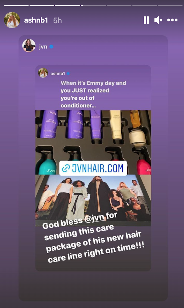 Ashely Nicole Black shows off a haircare PR package fromJonathan Van Ness