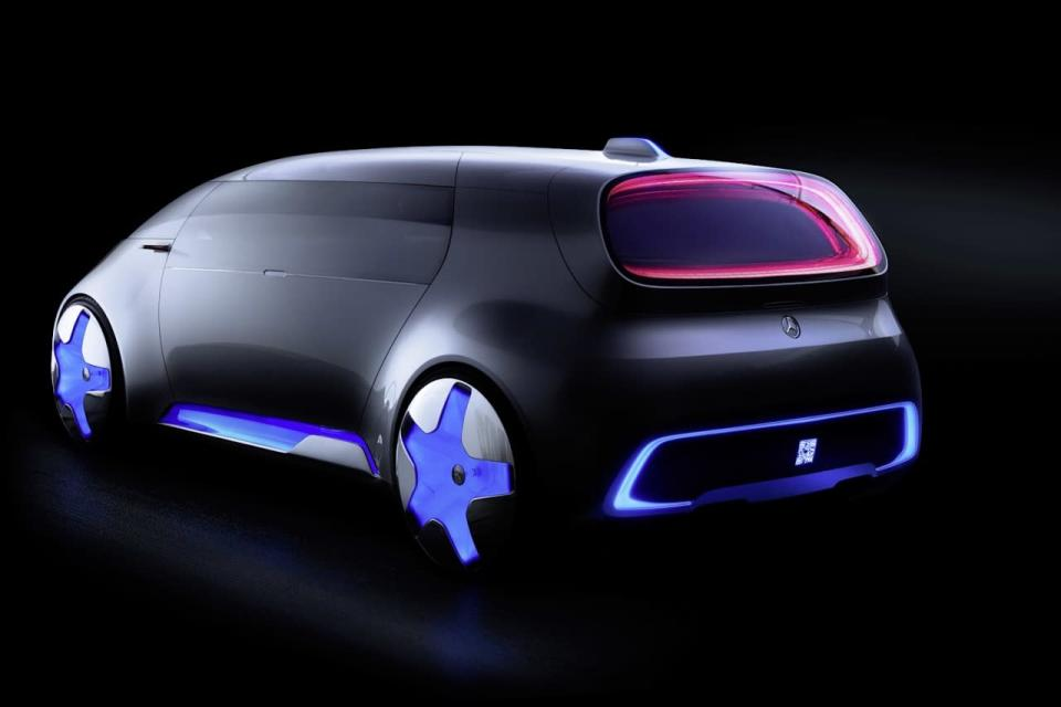 <p>Powered by electric motors, the Vision Tokyo rides on massive 26-inch wheels that spin around glowing wheel hubs. Power comes from a hybrid hydrogen fuel-cell system with zero emissions that's capable of traveling 608 miles between refills—another sign that fuel-cell tech may yet have a future.<br></p>