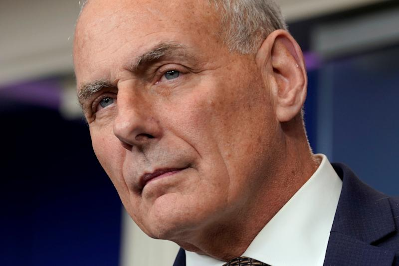 """White House Chief of Staff John Kelly said, """"Women were sacred and looked upon with great honor,"""" when he was growing up in the 1950s. (Yuri Gripas / Reuters)"""
