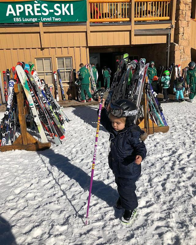 "<p>Kardashian's youngest is only 3, but he's raring to get out there, judging from this pic, which she captioned ""après ski."" (Photo: <a href=""https://www.instagram.com/p/BdvRT27jqj_/?hl=en&taken-by=kourtneykardash"" rel=""nofollow noopener"" target=""_blank"" data-ylk=""slk:Kourtney Kardashian via Instagram"" class=""link rapid-noclick-resp"">Kourtney Kardashian via Instagram</a>) </p>"