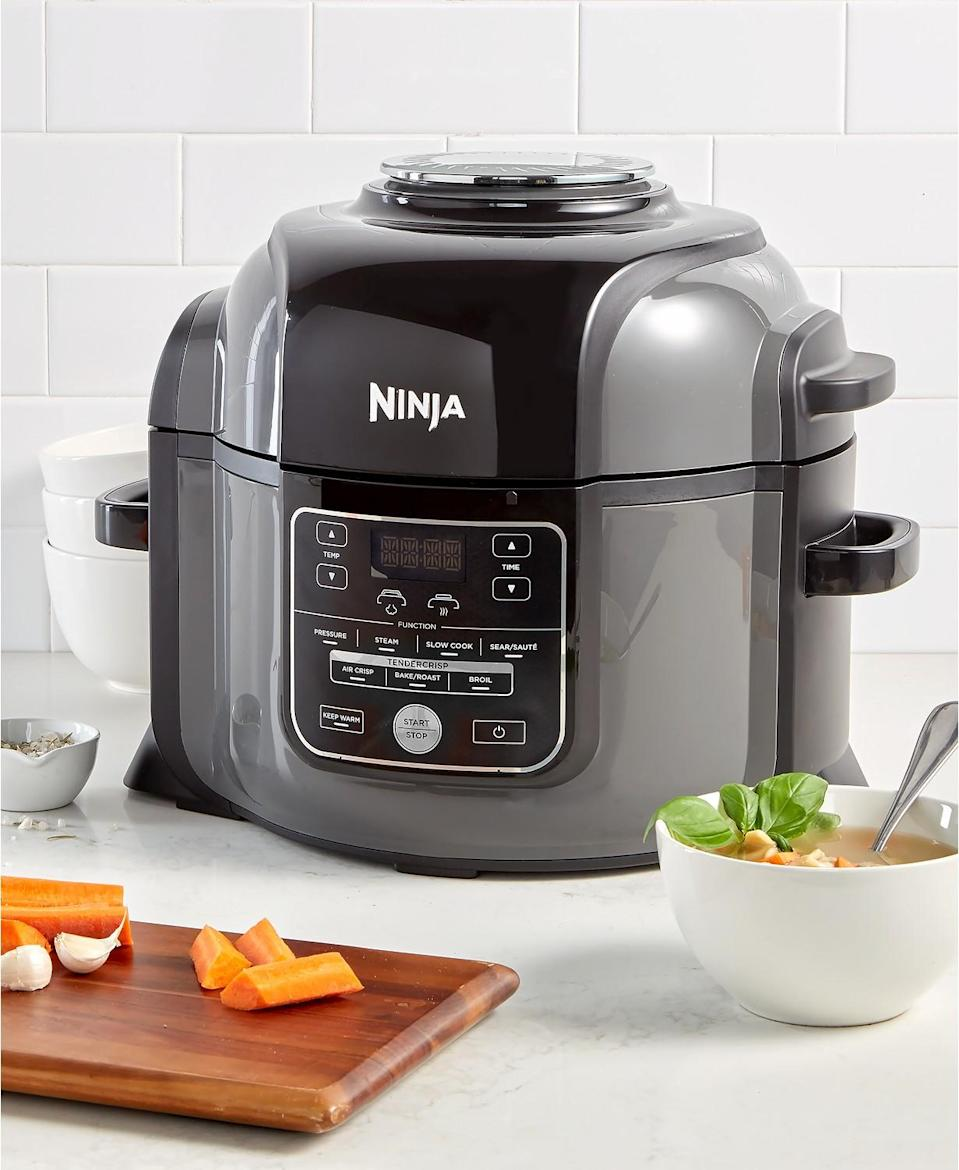 """<p>If your guy loves to cook, then he will be blown away by the popular Foodi pressure cooker and air fryer. The multitasking appliance quickly pressure cooks his favorite dishes and the Crisping Lid does the air frying, baking, roasting and broiling. It's the best of both worlds, all in one compact device!<br><strong><a href=""""https://fave.co/2AQsTYC"""" rel=""""nofollow noopener"""" target=""""_blank"""" data-ylk=""""slk:Shop it"""" class=""""link rapid-noclick-resp"""">Shop it</a>:</strong> $230, <a href=""""https://fave.co/2AQsTYC"""" rel=""""nofollow noopener"""" target=""""_blank"""" data-ylk=""""slk:macys.com"""" class=""""link rapid-noclick-resp"""">macys.com</a> </p>"""