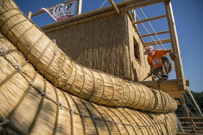 Large bundles of totora reed were lashed together with ropes to form the main body of the vessel before it was equipped with a wooden mast and two reed compartments for sleeping (AFP Photo/NIKOLAY DOYCHINOV)