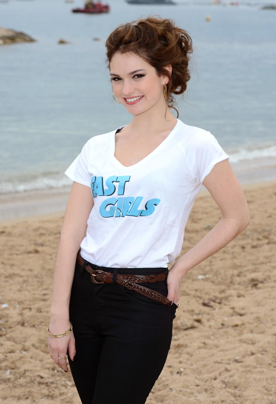 Lily James at the photocall for Fast Girls in Cannes. Part of the 65th Cannes Film Festival.