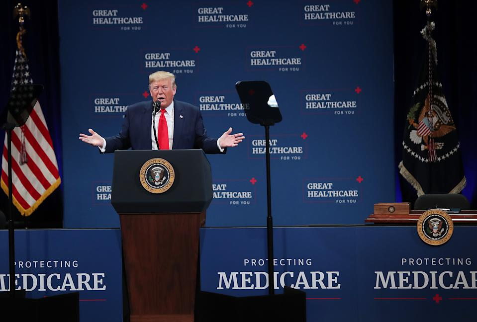 THE VILLAGES, FLORIDA - OCTOBER 03: U.S. President Donald Trump speaks during an event at the Sharon L. Morse Performing Arts Center in The Villages on October 03, 2019 in The Villages, Florida. President Trump spoke about Medicare, and signed an executive order calling for further privatizing of it. (Photo by Joe Raedle/Getty Images)