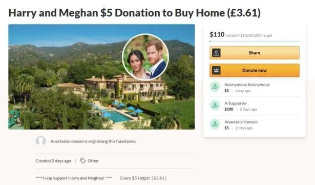 A woman in California has set up a GoFundMe page to raise money for Harry and Meghan's multi-million dollar mortgage. Photo: GoFundMe.
