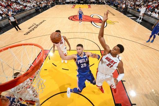 MIAMI, FL - APRIL 21: Ben Simmons #25 of the Philadelphia 76ers goes to the basket against the Miami Heat in Game Four of Round One of the 2018 NBA Playoffs on April 21, 2018 at American Airlines Arena in Miami, Florida. (Photo by Jesse D. Garrabrant/NBAE via Getty Images)