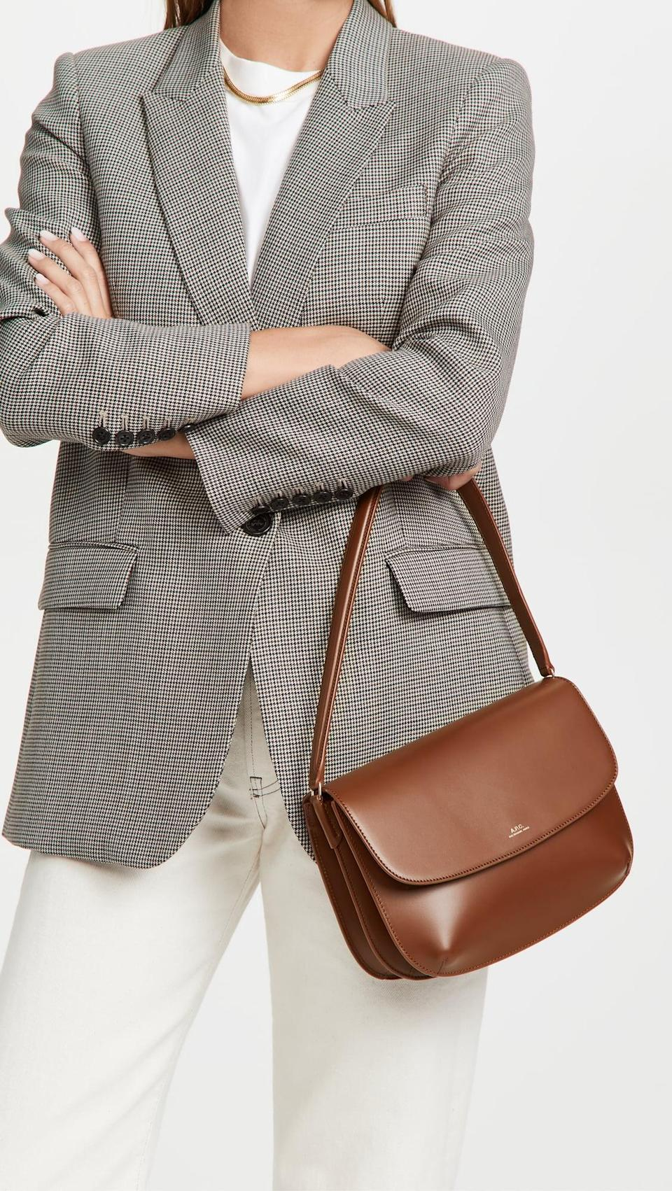 <p>You can't go wrong with the <span>A.P.C. Sarah Shoulder Bag</span> ($575). The perfect brown shade will easily pair with every fall outfit you have.</p>