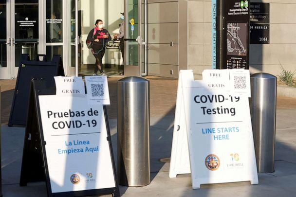 PHOTO: Signs for COVID-19 testing face travelers entering the United States from Mexico at the San Ysidro pedestrian border as San Diego County, in San Diego, Calif., Aug. 14, 2020. (Mike Blake/Reuters)