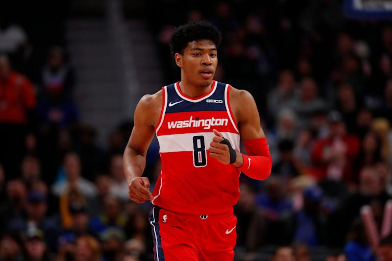 Washington Wizards forward Rui Hachimura plays against the Detroit Pistons in the first half of an NBA basketball game in Detroit, Monday, Dec. 16, 2019. (AP Photo/Paul Sancya)