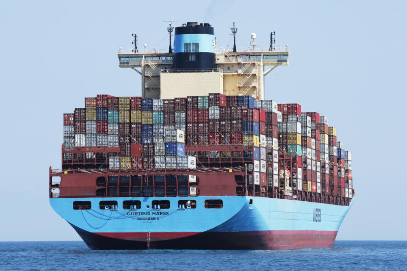 The container ship Gjertrud Maersk, anchored off the coast of Virginia Beach Monday June 29, 2020. The ship was anchored as it waited for a pilot to take it into port. (AP Photo/Steve Helber)