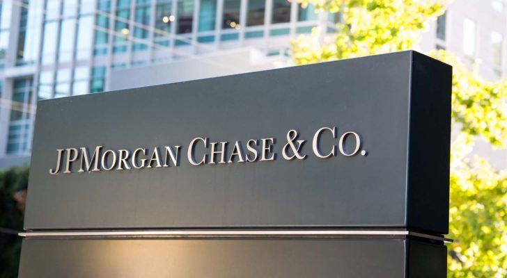 A sign for JP Morgan Chase & Co (JPM).