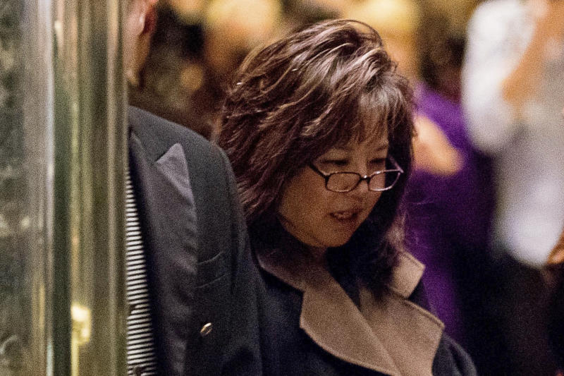 FILE - In this Dec. 5, 2016, file photo, former United States Attorney Debra Wong Yang arrives at Trump Tower in New York. LA Opera has named Yang on Tuesday, Aug. 20, 2019, to lead an 'independent investigation' into allegations of sexual harassment against Placido Domingo. The investigation into Domingo's behavior follows an Associated Press report detailing multiple accusations against the opera star. (AP Photo/Andrew Harnik, File)