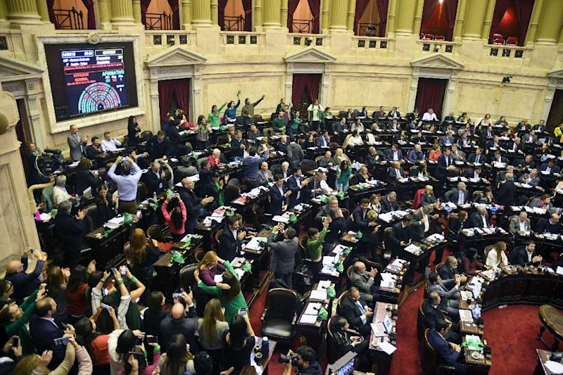 Argentine lawmakers react after approving a bill to legalize abortion in this picture released by the national news agency Telam (AFP Photo/OSVALDO FANTON)