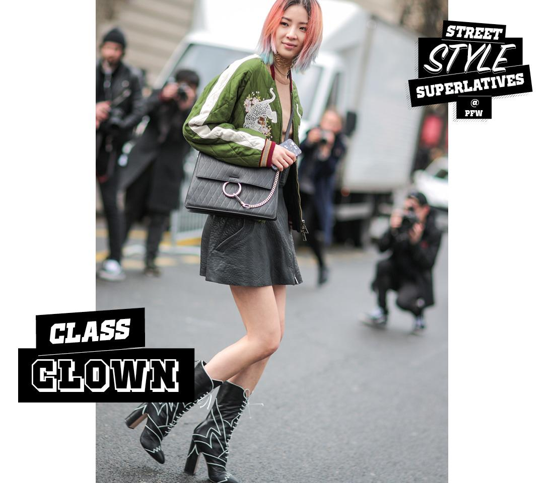 <p>With her rainbow hair, embroidered satin bomber jacket, and cross-stitched statement boots, model Irene Kim clearly isn't afraid of a little kook. Which is fine, because fashion is no place for basics.</p><p><i>(Photo: Getty)</i></p>