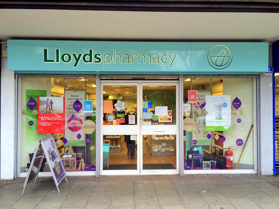 Bracknell,England - November 04,  2016: Front view of a Lloyds Pharmacy store in Bracknell, England. Lloyds have over 1,500 pharmacies across the United Kingdom