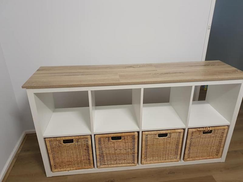 A savvy DIYer has made their plain Ikea storage cube 'so much nicer' with an $8 Bunnings buy. Photo: Facebook (supplied).