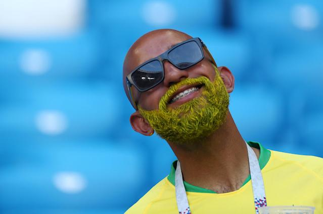 <p>Brazil fan inside the stadium before the match REUTERS/Pilar Olivares </p>