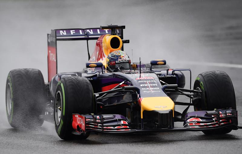 Red Bull Racing's German driver Sebastian Vettel drives during the qualifying session at the Spa-Francorchamps ciruit in Spa on August 23, 2014 ahead of the Belgium Formula One Grand Prix
