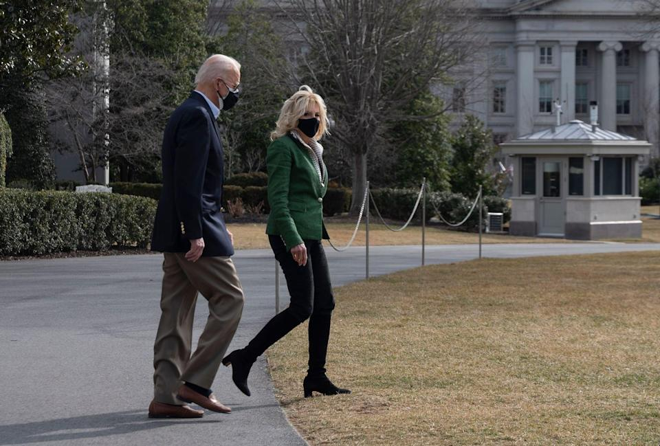 """<p>When it comes to blazers and jackets, <a href=""""https://www.popsugar.com/fashion/jill-biden-veronica-beard-jackets-48211226"""" class=""""link rapid-noclick-resp"""" rel=""""nofollow noopener"""" target=""""_blank"""" data-ylk=""""slk:Biden has selected Veronica Beard"""">Biden has selected Veronica Beard</a> time and time again. She chose the women-owned brand's Dickey jacket while departing the White House for Texas in February 2021, styled with black pants and Stuart Weitzman's Milla boot. Sister-in-law design duo Veronica Swanson Beard and Veronica Miele Beard call Biden's VB outerwear her """"superwoman capes."""" The Beards are continuously committed to empowering women's voices through their <a href=""""https://veronicabeard.com/blogs/vb-edit/tagged/vb-gives-back"""" class=""""link rapid-noclick-resp"""" rel=""""nofollow noopener"""" target=""""_blank"""" data-ylk=""""slk:VB Gives Back program"""">VB Gives Back program</a>.</p>"""