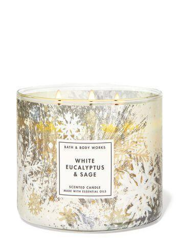 "<p><strong>Bath & Body Works</strong></p><p>bathandbodyworks.com</p><p><strong>$24.50</strong></p><p><a href=""https://www.bathandbodyworks.com/p/white-eucalyptus-and-sage-3-wick-candle-026178237.html"" rel=""nofollow noopener"" target=""_blank"" data-ylk=""slk:Shop Now"" class=""link rapid-noclick-resp"">Shop Now</a></p><p>Very peaceful and calming—just like walking into a Pottery Barn and leaving with exactly one furry white blanket, one wreath, and four glittery bottlebrush trees. It's an aesthetic that I would like to be buried in, thank you. </p>"