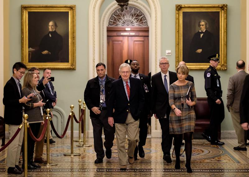 U.S. Senate Majority Leader Sen. Mitch McConnell (R-KY) walks to his office before the Senate impeachment trial against President Donald Trump on January 25, 2020 in Washington, DC. Republican lawyers began their defense of President Trump during the trial on Saturday morning.