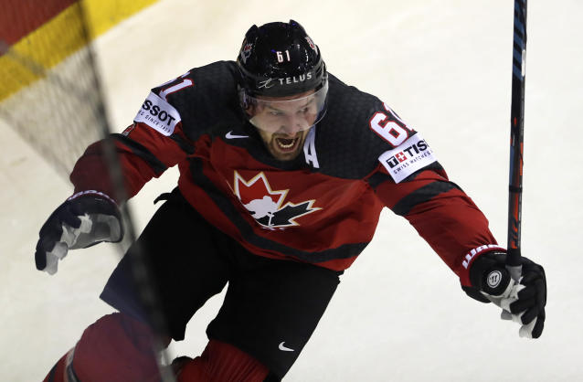Canada's Mark Stone celebrates after scoring his side's third goal during the Ice Hockey World Championships quarterfinal match between Canada and Switzerland at the Steel Arena in Kosice, Slovakia, Thursday, May 23, 2019. (AP Photo/Petr David Josek)