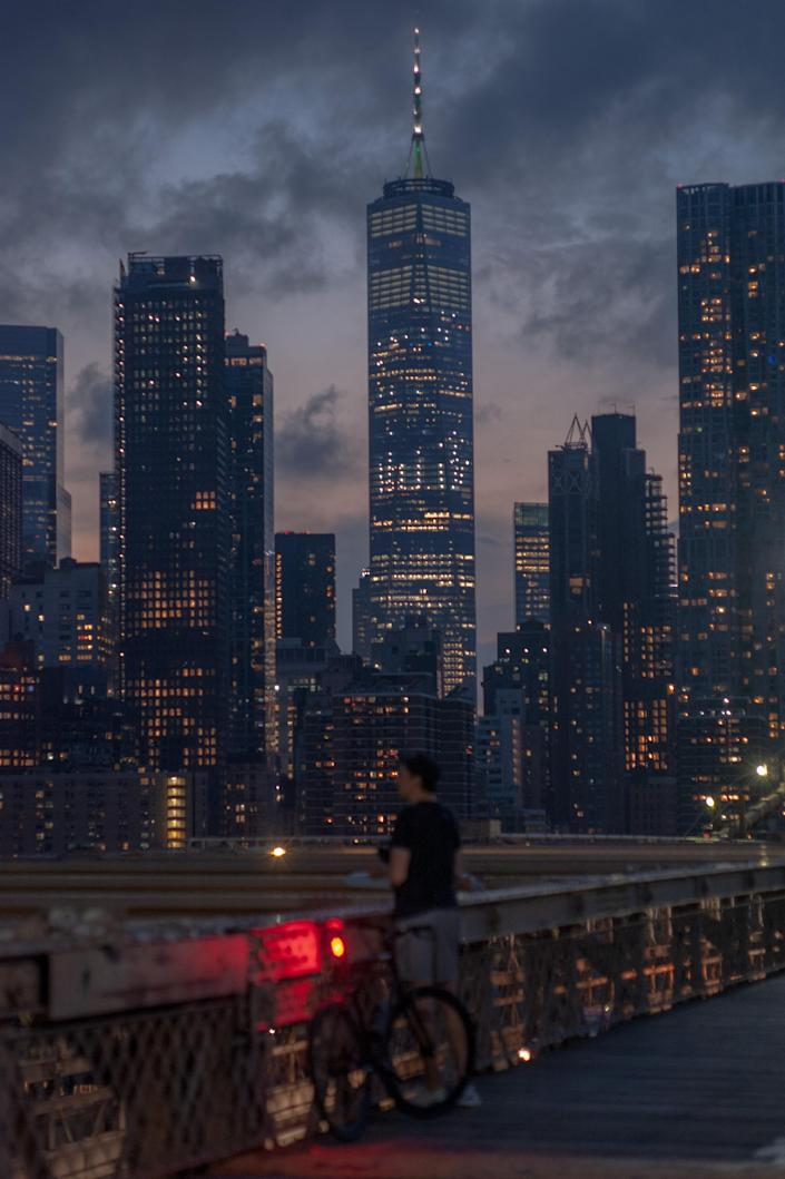 Lower Manhattan from the Brooklyn Bridge, on July 6, 2020. (September Dawn Bottoms/The New York Times)