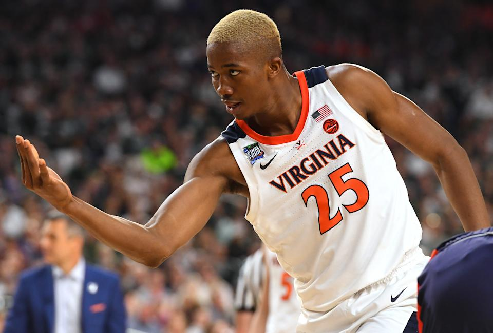Mamadi Diakite #25 of the Virginia Cavaliers reacts during the second half of the semifinal game in the NCAA Men's Final Four at U.S. Bank Stadium on April 06, 2019 in Minneapolis, Minnesota. (Photo by Jamie Schwaberow/NCAA Photos via Getty Images)