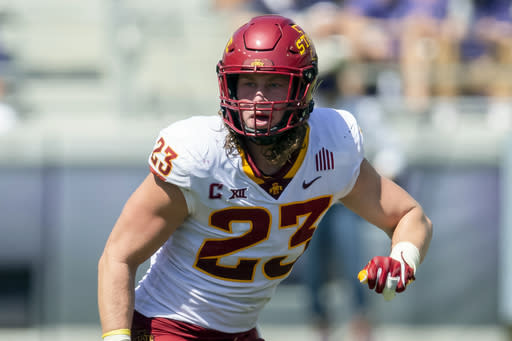 FILE - In this Sept. 26, 2020, file photo, Iowa State linebacker Mike Rose (23) defends during an NCAA football game against TCU in Fort Worth, Texas. Rose was selected as the Big 12 defensive player of the year. (AP Photo/Brandon Wade, File)
