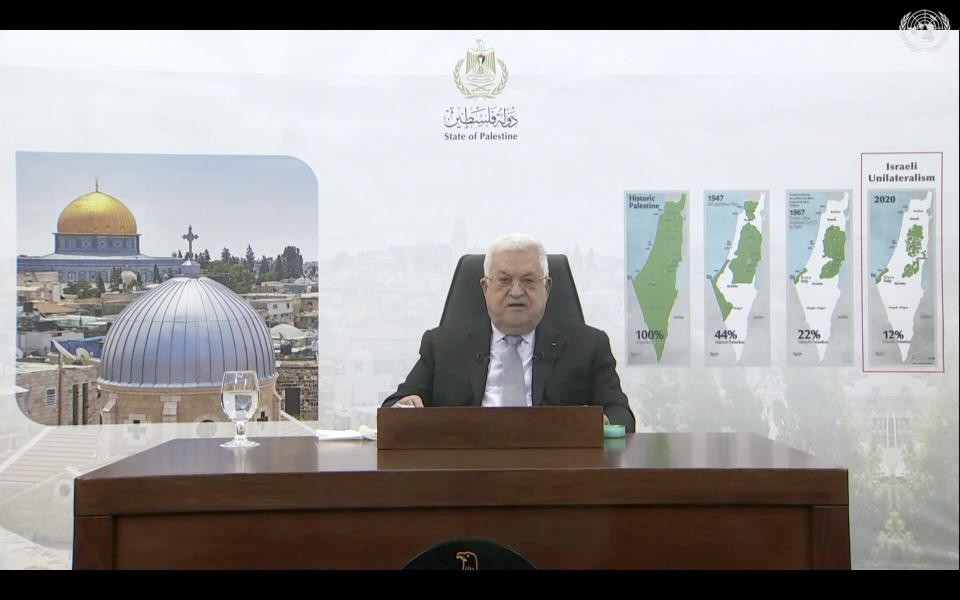 In this photo taken from video, Palestinian President Mahmoud Abbas remotely addresses the 76th session of the United Nations General Assembly in a pre-recorded message, Friday, Sept. 24, 2021, at UN headquarters. (UN Web TV via AP)