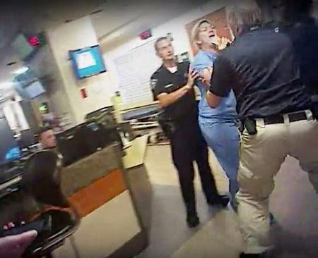 FILE PHOTO:  Nurse Alex Wubbels is shown during an incident at University of Utah Hospital in this still photo taken from police bodycam video taken in Salt Lake City, Utah, U.S. on July 26, 2017.    Courtesy Salt Lake City Police Department/Handout via REUTERS