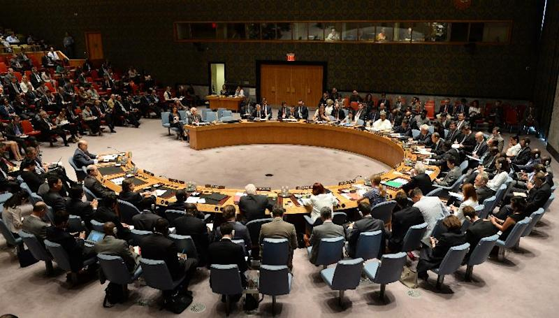 The United Nations Security Council meets to discuss the situation in the Middle East July 10, 2014 at the United Nations in New York (AFP Photo/Don Emmert)