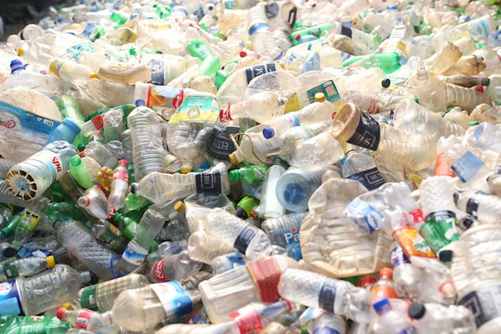 Plastic bottles are seen in a recycle factory in Dhaka, Bangladesh (Getty)