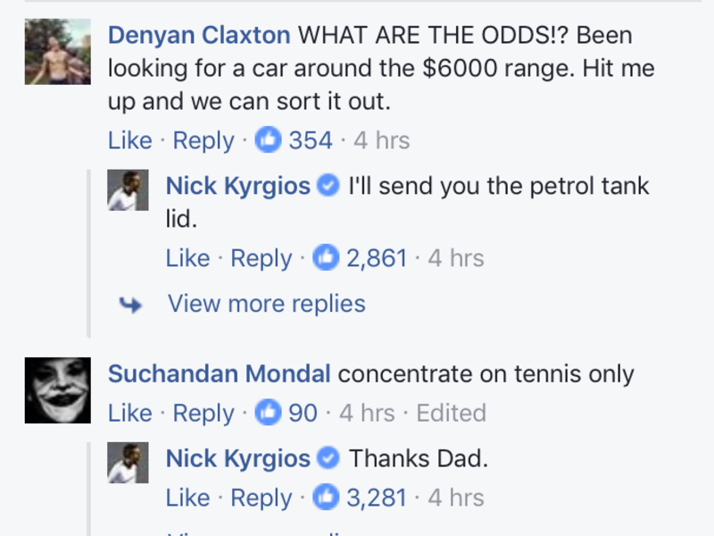 Nick Kyrgios Car Facebook