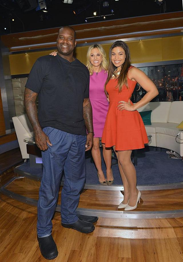 Shaquille O'Neal, Elisabeth Hasselbeck, and Jordin Sparks on the set of <em>Fox & Friends</em>. (Photo: Slaven Vlasic/Getty Images)
