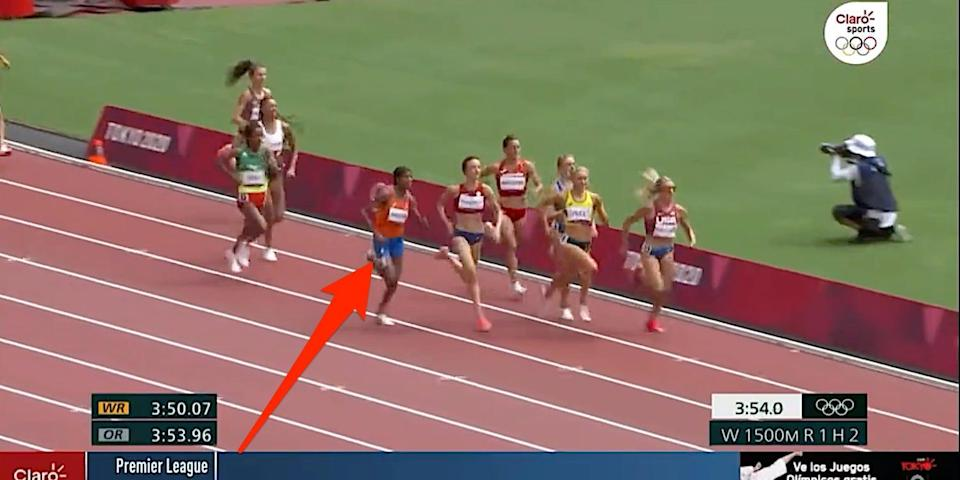Arrow shows Sifan Hassan in the women's 1,500-meter race at the Tokyo Olympics.