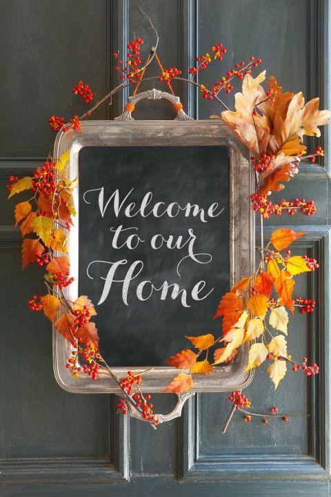 """<p>Greet guests with this charming alternative to a fall wreath. Simply apply a layer of chalkboard paint to the inside of an <a href=""""https://www.ebay.com/sch/i.html?_nkw=silver%20tray&ssPageName=GSTL"""" rel=""""nofollow noopener"""" target=""""_blank"""" data-ylk=""""slk:old tray"""" class=""""link rapid-noclick-resp"""">old tray</a>, then add autumn branches and bittersweet berries for a seasonal finish. </p><p><strong><a class=""""link rapid-noclick-resp"""" href=""""https://www.amazon.com/FolkArt-2517-8-Ounce-Chalkboard-Paint/dp/B001DCTH2G?tag=syn-yahoo-20&ascsubtag=%5Bartid%7C10050.g.1371%5Bsrc%7Cyahoo-us"""" rel=""""nofollow noopener"""" target=""""_blank"""" data-ylk=""""slk:SHOP CHALKBOARD PAINT"""">SHOP CHALKBOARD PAINT</a></strong> </p>"""