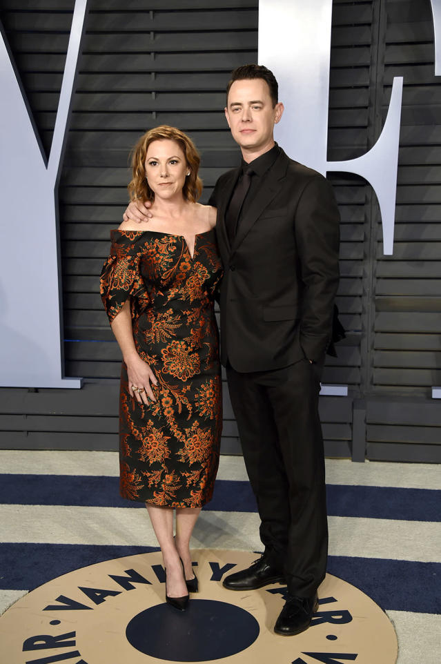 <p>Hanks sported an all-black look alongside wife Samantha Bryant. Not present: father and two-time Oscar winner Tom Hanks. (Photo: Evan Agostini/Invision/AP) </p>