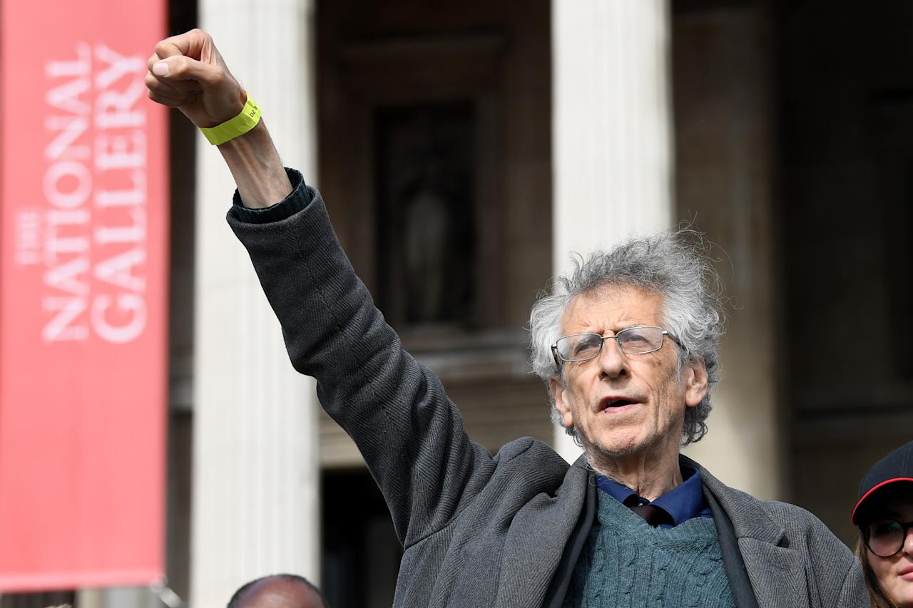 Piers Corbyn, the brother of former Labour Party leader Jeremy Corbyn, at a 'We Do Not Consent' rally at Trafalgar Square in London, organised by Stop New Normal, to protest against coronavirus restrictions.