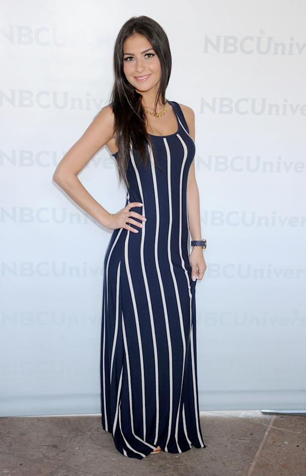 """Christie Livoti (""""<a href=""""http://tv.yahoo.com/brooklyn-11223/show/48321"""">Brooklyn 11223</a>"""") arrives at NBC Universal's 2012 Summer Press Day at The Langham  Huntington Hotel and Spa on April 18, 2012 in Pasadena, California."""