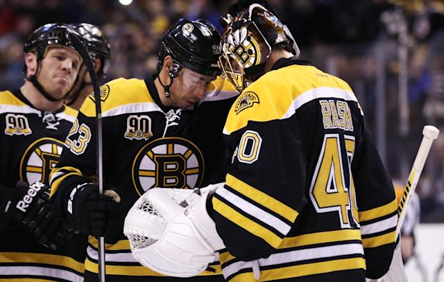 Boston Bruins goalie Tuukka Rask (40) bumps foreheads with teammate Chris Kelly after the Bruins defeated the Washington Capitals 3-0 during an NHL hockey game, Thursday, March 6, 2014, in Boston. At left is Bruins right wing Shawn Thornton. (AP Photo/Charles Krupa)