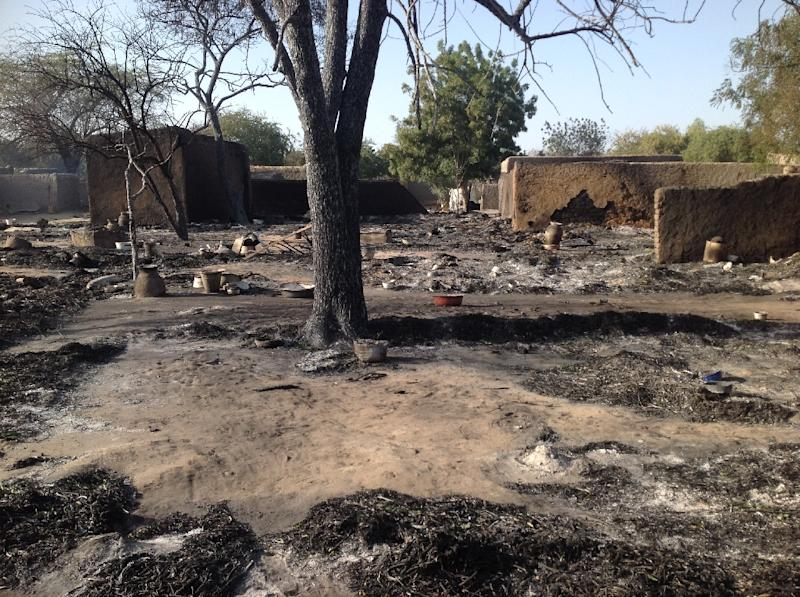 A burned down village after it was attacked by Boko Haram rebels, in Nougboua, Chad, on February 13, 2015