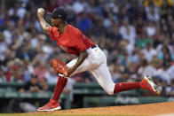 Boston Red Sox relief pitcher Phillips Valdez delivers to the New York Yankees in the second inning of a baseball game at Fenway Park, Friday, July 23, 2021, in Boston. (AP Photo/Elise Amendola)