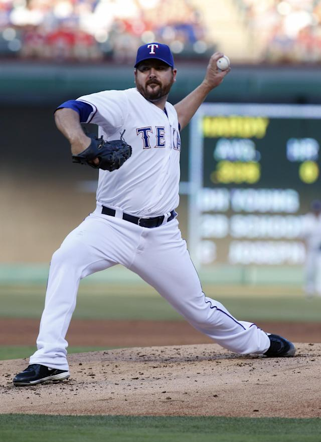 Texas Rangers starter Joe Saunders throws a pitch in the second inning of a baseball game against the Baltimore Orioles on Tuesday, June 3, 2014, in Arlington, Texas. (AP Photo/Sharon Ellman)